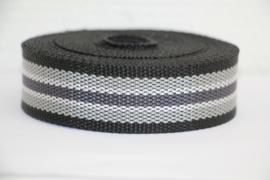 Tassenband grijs/antraciet/wit/zwart STEVIG 30mm, per 0,5 meter