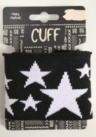 Cuff jacquard ster zwart-wit 7x110 cm