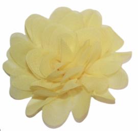 Stoffen bloem 7 cm lichtgeel