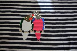 Panel tricot glitter/veegapplicatie: papegaai  65x140 cm