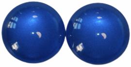 Glas flatback cabochon 12mm kobaltblauw per 2 stuks
