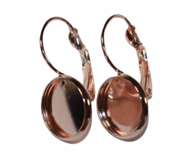 Oorbellen rose-gold 25 x 14mm + cabochon setting 12mm. French lever back per paar.