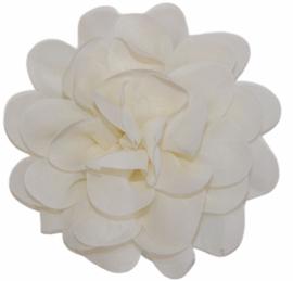Stoffen bloem 10 cm cremewit