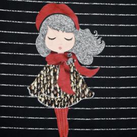 Panel digitale French terry tricot: 3 luik, meisjes met muts op zwart  75x150 cm Stenzo