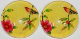 Glas flatback cabochon 12 mm vogel op tak geel , 2 stuks