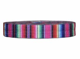 Elastische biaisband Mexicaanse streep roze 16 mm per 0,5 meter