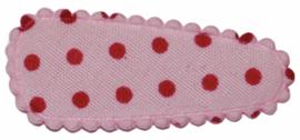 kniphoesje katoen roze met fuchsia stipjes 3 cm