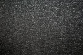Zwart met zilver glitter boordstof Glamour. Rondgebreid 47 cm. Per 25 cm