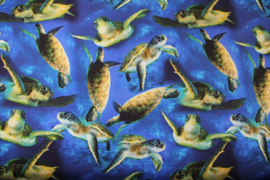 Digitale print tricot: Ocean turtles, per 25 cm