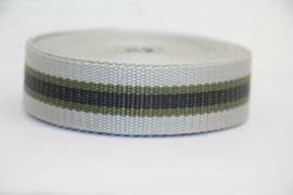 Tassenband grijs/legergroen/zwart 25mm STEVIG, per 0,5 meter