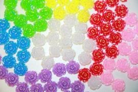 Shiny roosje 11 mm flatback diverse kleuren
