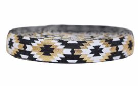 Elastische  biaisband zwart/gouden/wit 16 mm per 0,5 meter