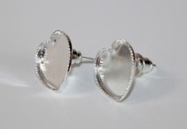 Oorbellen stekers hart-vorm setting 12 mm