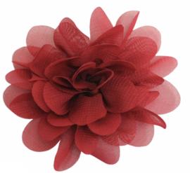 Stoffen bloem 7 cm bordeauxrood