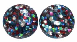 Flatback cabochon glitter roze/blauw/zilver 12 mm, per 2 stuks