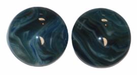 Rondje marmer petrol/blauw flatback 12mm, per 2 stuks