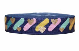 Elastisch band donkerblauw met streepjes en gouden hartjes 16 mm per 0,5 meter