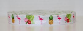 Elastisch band wit flamingo ananas en bloemen 16 mm per 5 meter