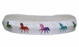Elastisch band wit met foil unicorn per 0,5 meter