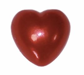 Flatback hartje rood 10mm, per stuk