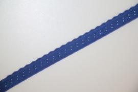Elastische biaisband met schulprandje (vouwkant) jeansblauw 10mm per 0,5 meter