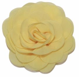 Stoffen bloem 8 cm zachtgeel