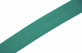 Elastisch biaisband/vouwtres MAT kleur emerald 20 mm per 0,5 meter