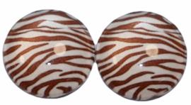 12 mm glascabochon zebraprint bruin/offwhite, per 2 stuks