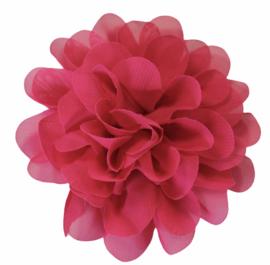 Stoffen bloem 10 cm donker-paarsroze