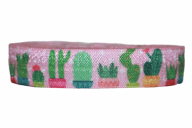 Elastisch band cactus in pot roze 16 mm per 0,5 meter