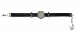 armband zwart met setting zilver 20 mm