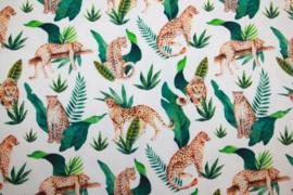 Tricot digitale print : luipaard, per 25 cm