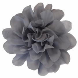 Stoffen bloem 10 cm grijs