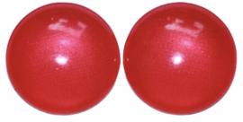 Glas flatback cabochon 12mm donkerroze-rood per 2 stuks