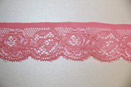 Roze elastisch kant 25mm, per 0,5 meter