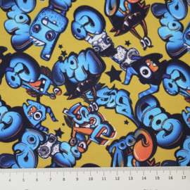 Digitale print French Terry tricot : WOW COOL (Stenzo), per 25 cm
