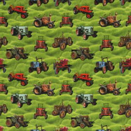 Tricot: Old Timers tractors groen  (Sansa, Swafing) , per 25 cm