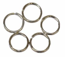 Ringetjes 10mm met opening 925 verzilverd,  per 5 stuks