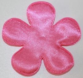 Bloem applicatie 47 mm effen roze satijn per 5 stuks