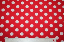 Tricot: DOT RED WHITE 15mm, per 25 cm