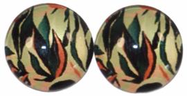 Glas flatback cabochon 12mm tropical leaves, per 2 stuks