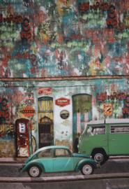 Panel digitale tricot: 3 luik, classic cars  75x150 cm Stenzo