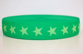Groen-lime ster elastiek 40 mm per 0,5 meter