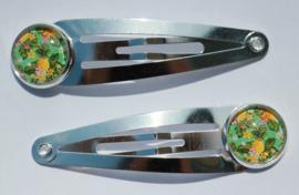 Klik-klak haarspeldje zilverkleur 5,5 cm met 12 mm cabochon setting