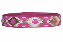 Elastisch band tribal, fuchsiaroze wit en goud 16 mm per 5 meter