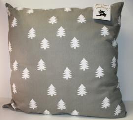Groot woonkussen grijs met witte kerstboompjes 60x60 cm