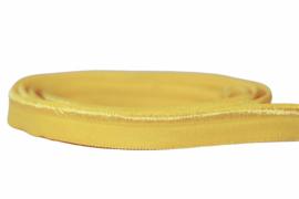 Elastisch paspelband glans/mat geel, per 0,5 meter