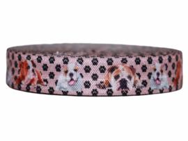 Elastische biaisband zachtroze met honden 16 mm per 0,5 meter