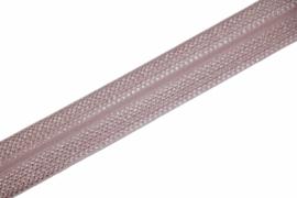 Elastisch biaisband/vouwtres JACQUARD kleur poederroze 20 mm per 0,5 meter