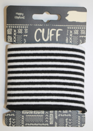 Cuff  stripes zwart-wit  7x110 cm